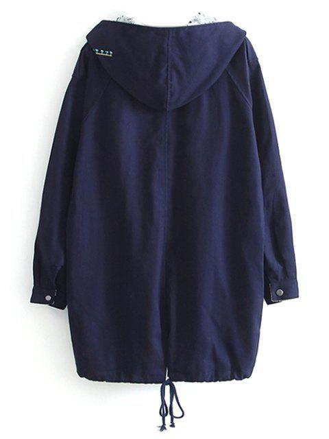 chic Letter Embroidered Hooded Sequins Coat - DEEP BLUE L Mobile