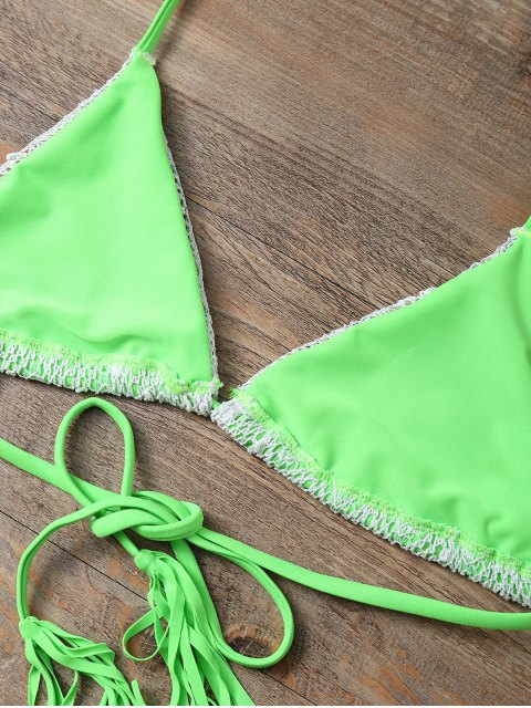 sale Halter String Tassels Bikini Set - GREEN S Mobile