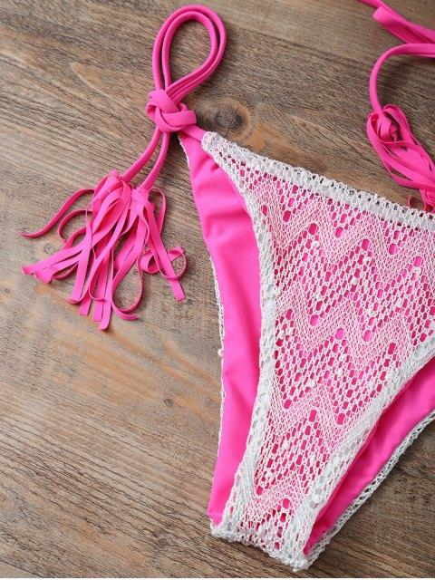 women Halter String Tassels Bikini Set - ROSE RED L Mobile