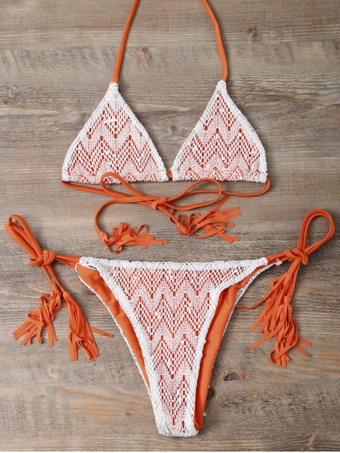 best Halter String Tassels Bikini Set - ORANGEPINK M Mobile