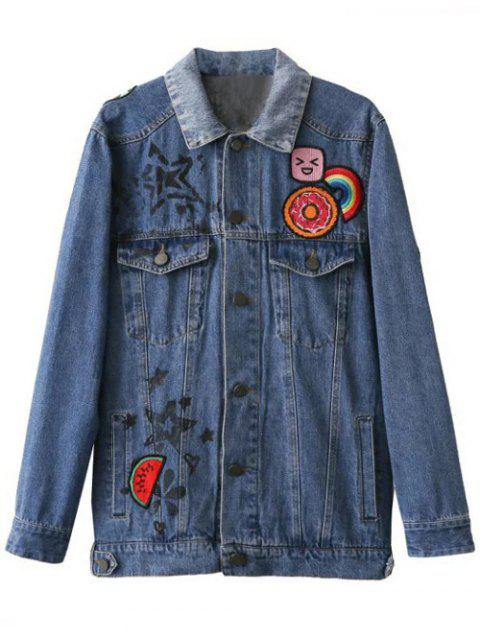 buy Cartoon Letter Patch Denim Jacket - DENIM BLUE L Mobile