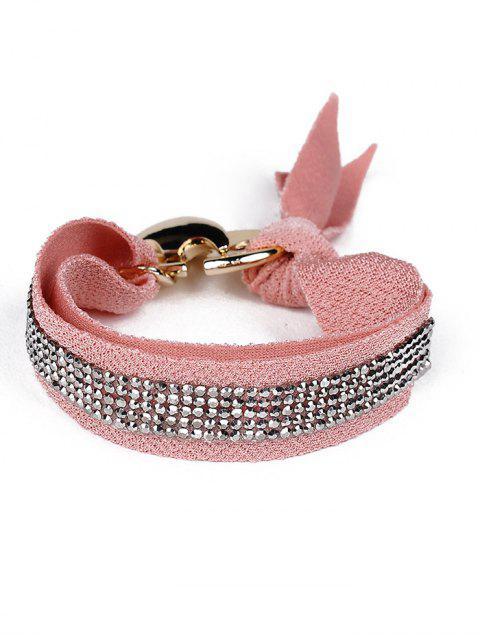trendy Bowknot Rhinestone Lint Bracelet -   Mobile