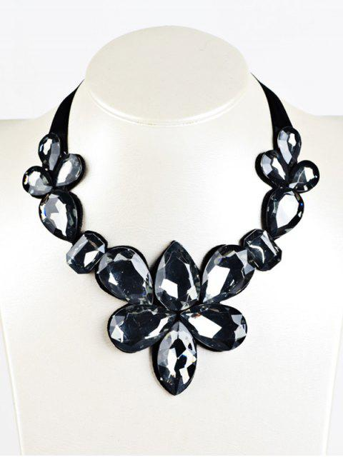 latest Water Drop Faux Crystal Ribbon Necklace -   Mobile