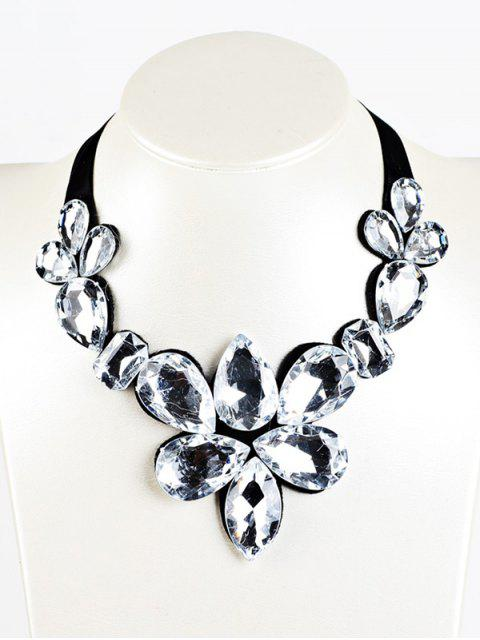 trendy Water Drop Faux Crystal Ribbon Necklace -   Mobile