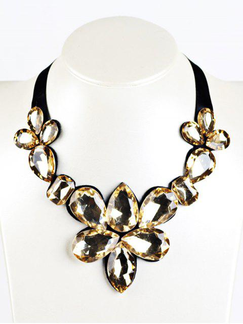 fashion Water Drop Faux Crystal Ribbon Necklace -   Mobile