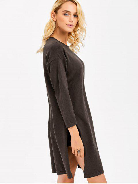 trendy Longline Side Slit  Knitwear - ESPRESSO ONE SIZE(FIT SIZE XS TO M) Mobile