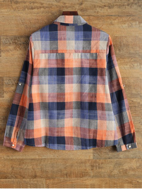 women's Checked Shirt With Pocket - PLAID XL Mobile