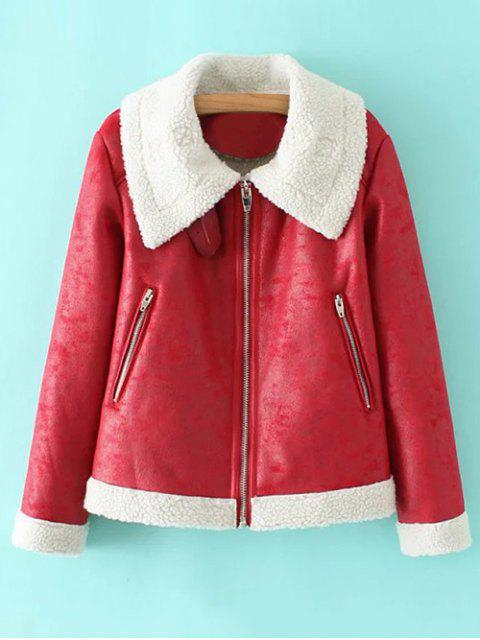 womens PU Leather Zipper Pocket Faux Shearling Coat - RED M Mobile
