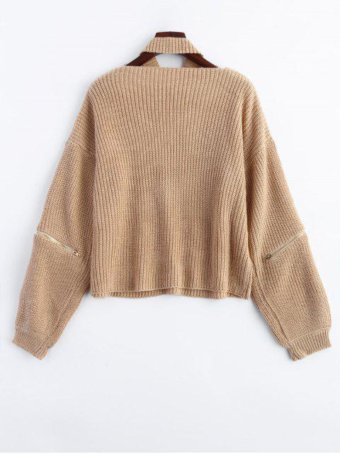 fashion Zipper Choker Jumper - NUDE ONE SIZE Mobile