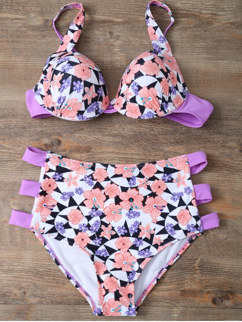 outfits Cut Out Floral High Waisted Swimsuit - PINK L Mobile
