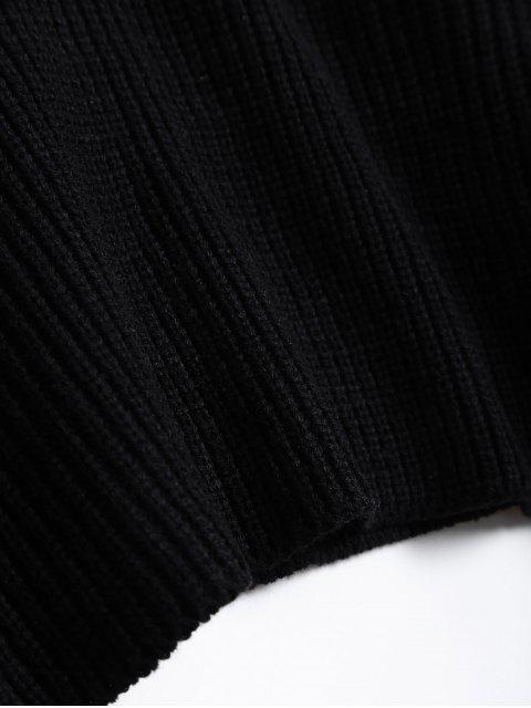 fancy Zipper Choker Jumper - BLACK ONE SIZE Mobile