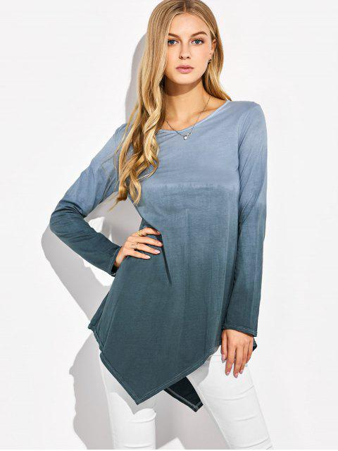 affordable Ombre V Neck Asymmetrical Tee - GRAY M Mobile