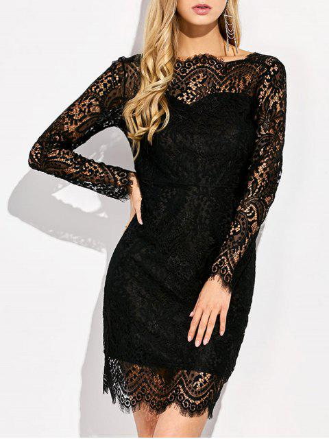 fancy V Back Lace Prom Dress With Sleeves - BLACK S Mobile