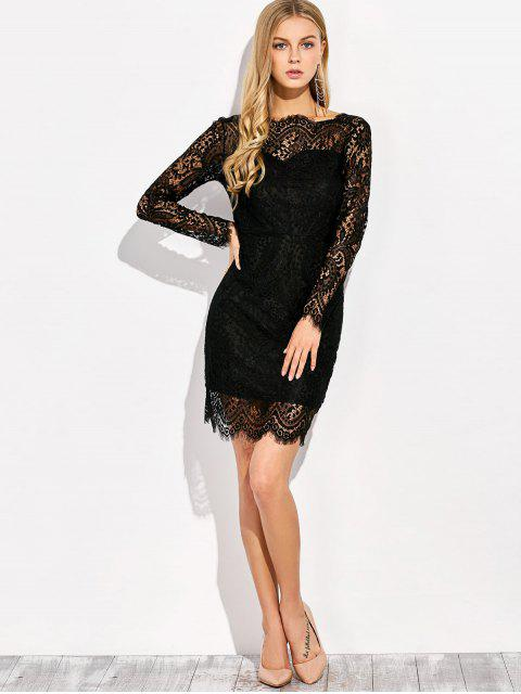 fashion V Back Lace Dress With Sleeves - BLACK L Mobile