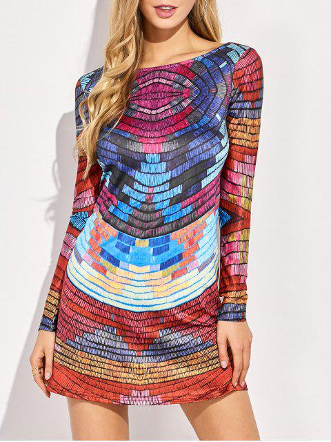 buy Back Low Cut Tie-Dyed Colorful Dress - COLORMIX M Mobile