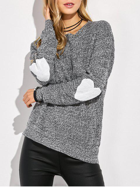 sale Heart Elbow Patch Round Neck Sweater - GRAY XL Mobile