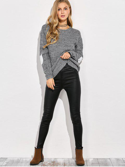 affordable Heart Elbow Patch Round Neck Sweater - GRAY L Mobile