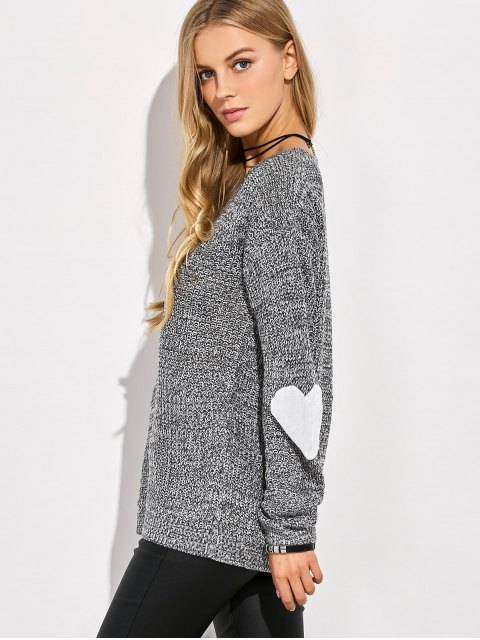 womens Heart Elbow Patch Round Neck Sweater - GRAY S Mobile