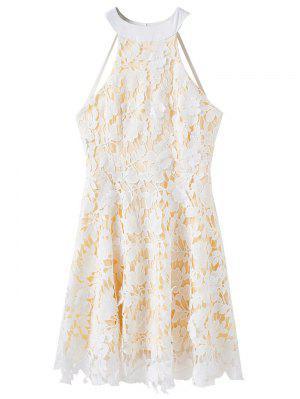 Vestido De Encaje Apliques Florales - Blanco L