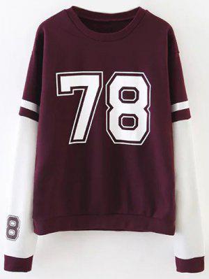 Sports Figure Print Sweatshirt - Wine Red M