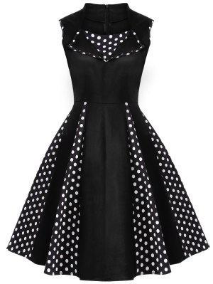 Robe Vintage En Polka Dot Sans Manches  Au Genou  - Noir 2xl