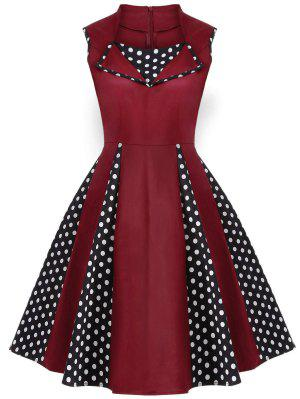 Robe Vintage En Polka Dot Sans Manches  Au Genou  - Bourgogne 4xl