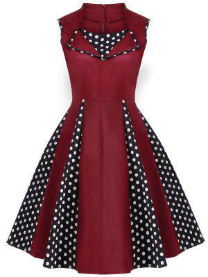 Robe Vintage En Polka Dot Sans Manches  Au Genou  - Bourgogne 3xl