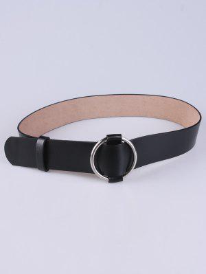 PU Round Buckle Adjustable Belt - Black