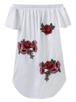 Fuera del hombro floral mini vestido