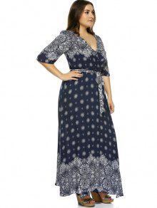 8e975bb8a4732 33% OFF  2019 Plus Size Boho Print Flowy Beach Wrap Maxi Dress In ...