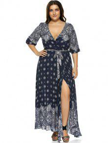 b994849d672f8 2019 Plus Size Boho Print Flowy Beach Wrap Maxi Dress In DEEP BLUE ...