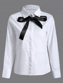 Bowknot Long Sleeve Shirt - White S