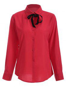 Bowknot Long Sleeve Button Up Shirt - Red L