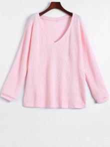Long Sleeve V Neck Jumper - Pink S