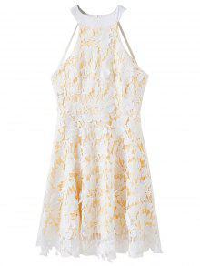 Floral Applique Lace Skater Dress - White M