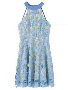 Floral Applique Lace Skater Dress - Blue M