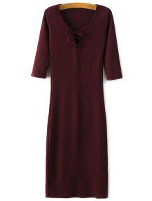 فستان محبوك رباط - نبيذ أحمر M
