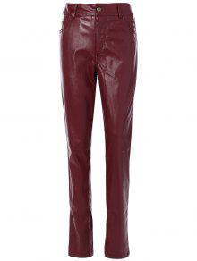 Pantalones Ajustados PU Cuero Bolsillos  - Burdeos S