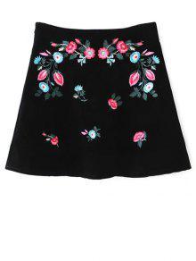 Ethnic Floral A-Line Skirt - Black M