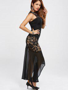 01b53c1f8aff 28% OFF] 2019 High Low Lace Bodysuit Mermaid Dress In BLACK | ZAFUL