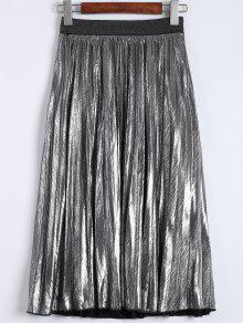 Metallic Color Pleated Tea Length Skirt - Silver M