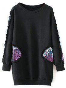 Sequins Crew Neck Long Sweatshirt - Black M