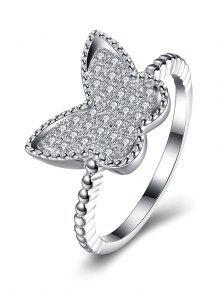 S925 Anillo De Diamante De La Mariposa - Plata 8