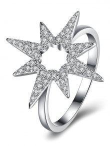 S925 Anillo De Diamante De La Flor De La Estrella - Plata 8