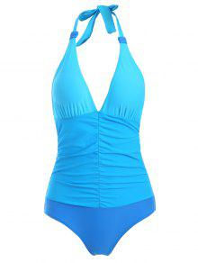 Ruched Color Block One-Piece Swimwear - Blue L