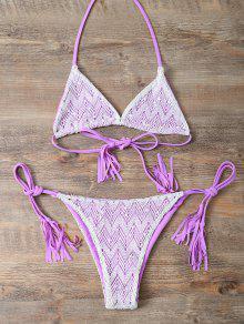 Halter String Tassels Bikini Set - Purple L