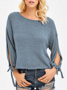 Buy Slit Drop Shoulder Crop Knitwear - BLUE GRAY ONE SIZE