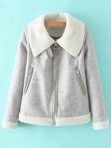 PU Leather Zipper Pocket Faux Shearling Coat - Gray M