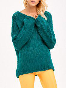 Buy Pullover Drop Shoulder Loose Fitting Chunky Sweater - GREEN ONE SIZE