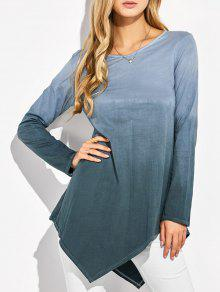Ombre V Neck Asymmetrical Tee - Gray L